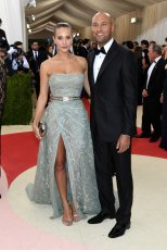 Hannah Davis in Zuhair Murad and Derek Jeter